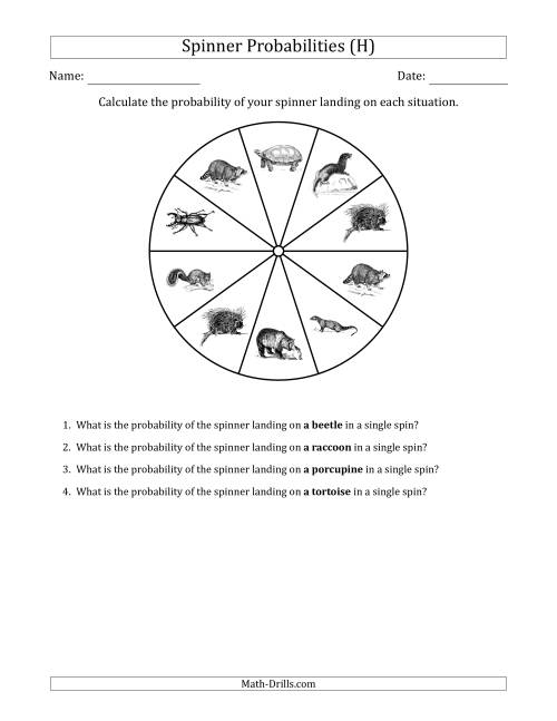 The Non-Numerical Spinners with Pictures (10 Sections) (H) Math Worksheet