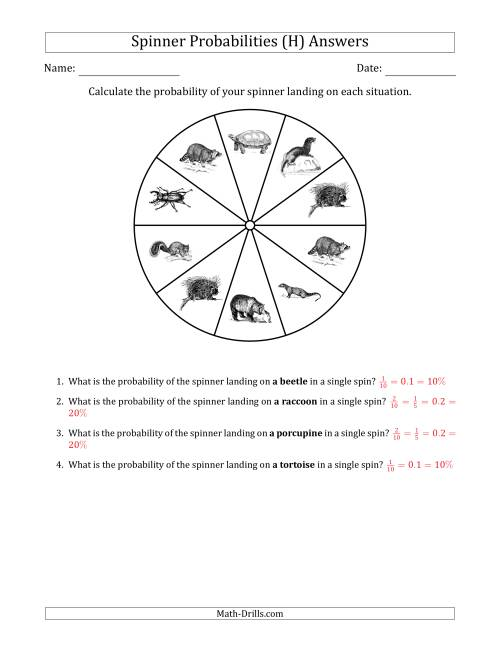 The Non-Numerical Spinners with Pictures (10 Sections) (H) Math Worksheet Page 2
