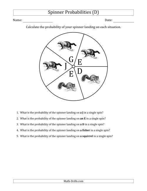The Non-Numerical Spinners with Letters/Pictures (5 Sections) (D) Math Worksheet