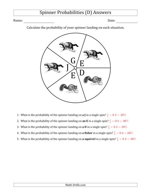 The Non-Numerical Spinners with Letters/Pictures (5 Sections) (D) Math Worksheet Page 2