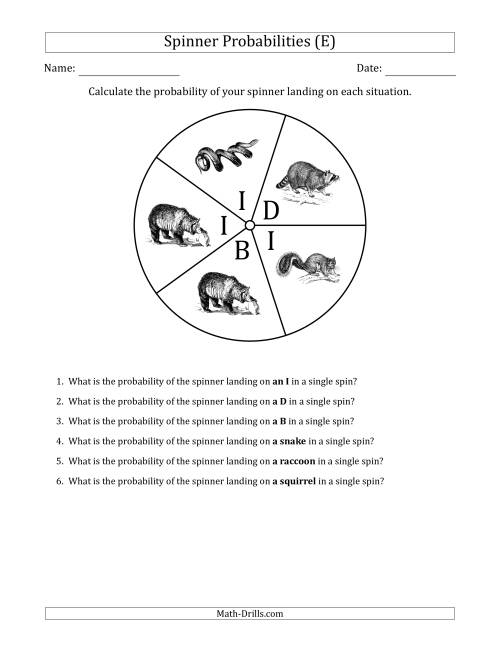The Non-Numerical Spinners with Letters/Pictures (5 Sections) (E) Math Worksheet