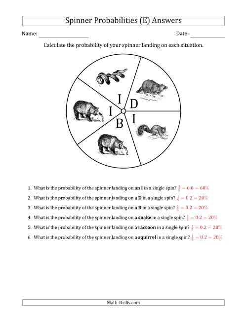 The Non-Numerical Spinners with Letters/Pictures (5 Sections) (E) Math Worksheet Page 2