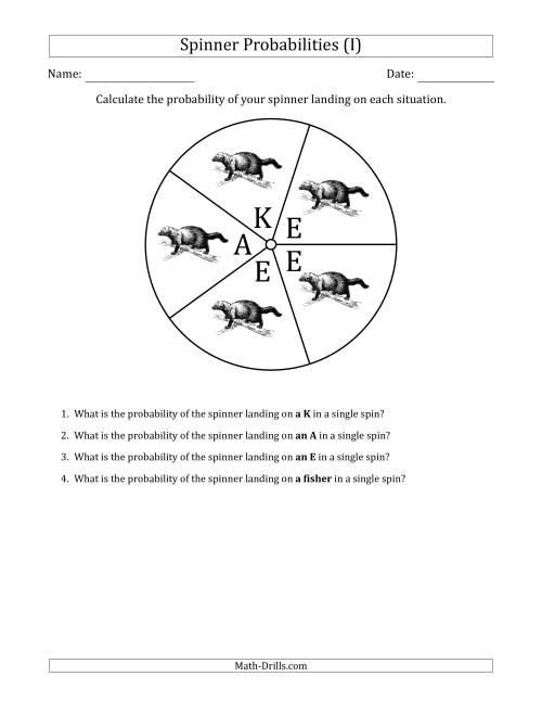 The Non-Numerical Spinners with Letters/Pictures (5 Sections) (I) Math Worksheet