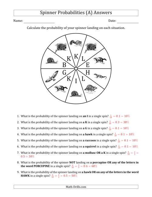 The Non-Numerical Spinners with Letters/Pictures (10 Sections) (A) Math Worksheet Page 2