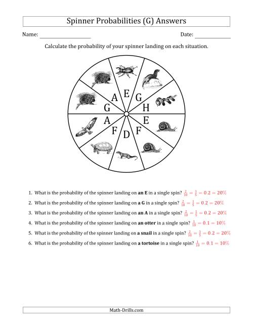 The Non-Numerical Spinners with Letters/Pictures (10 Sections) (G) Math Worksheet Page 2