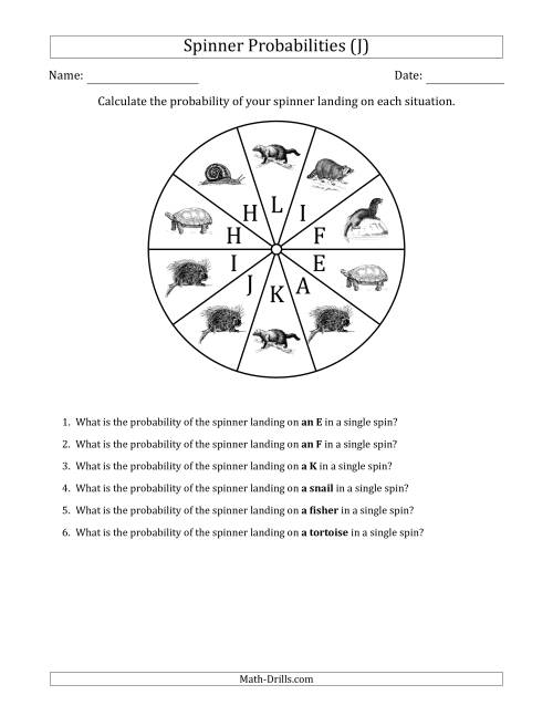 The Non-Numerical Spinners with Letters/Pictures (10 Sections) (J) Math Worksheet