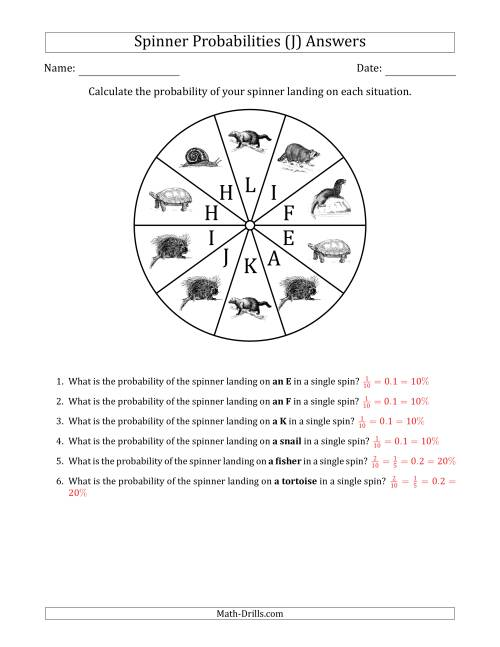 The Non-Numerical Spinners with Letters/Pictures (10 Sections) (J) Math Worksheet Page 2