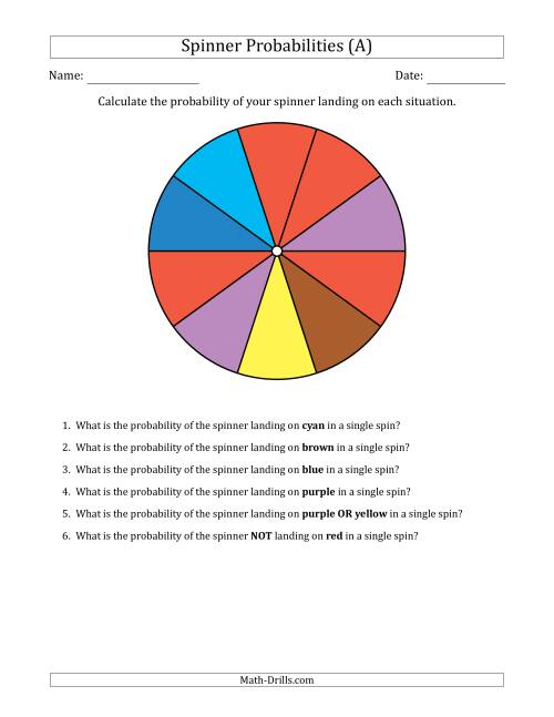 The Non-Numerical Spinners with Colors (10 Sections) (A) Math Worksheet