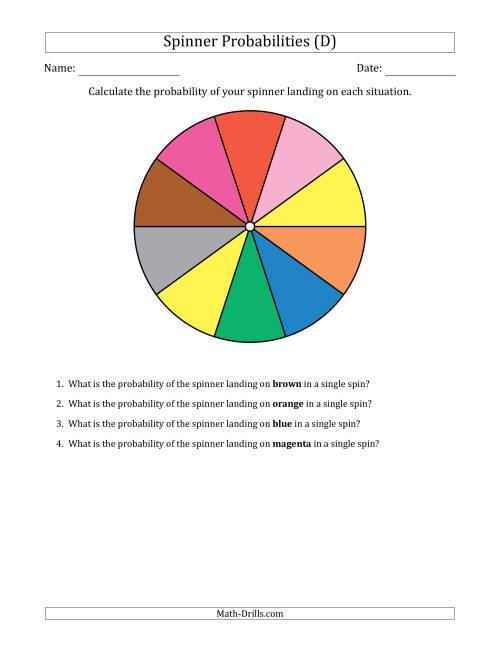 The Non-Numerical Spinners with Colors (10 Sections) (D) Math Worksheet