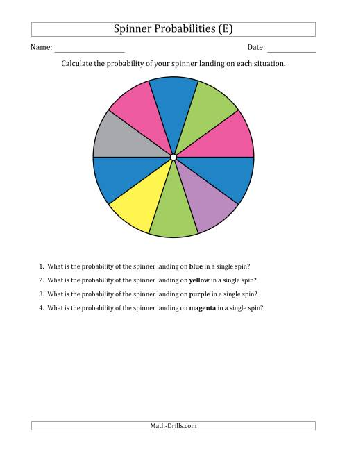 The Non-Numerical Spinners with Colors (10 Sections) (E) Math Worksheet