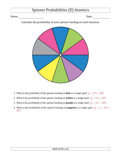 The Non-Numerical Spinners with Colors (10 Sections) (E) Math Worksheet Page 2