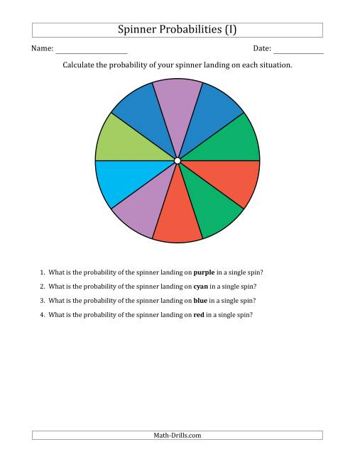 The Non-Numerical Spinners with Colors (10 Sections) (I) Math Worksheet