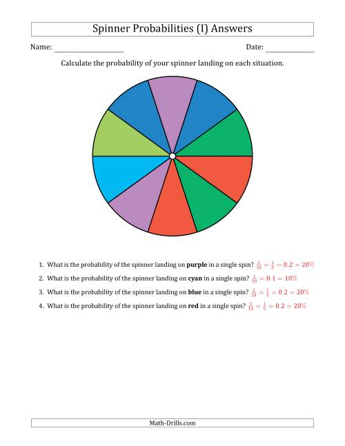 The Non-Numerical Spinners with Colors (10 Sections) (I) Math Worksheet Page 2