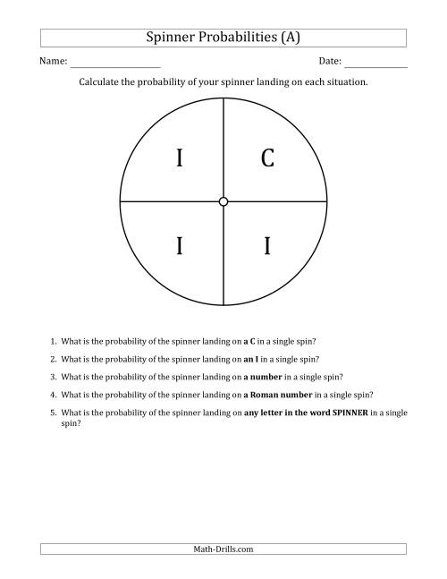 The Non-Numerical Spinners with Letters (4 Sections) (A) Math Worksheet
