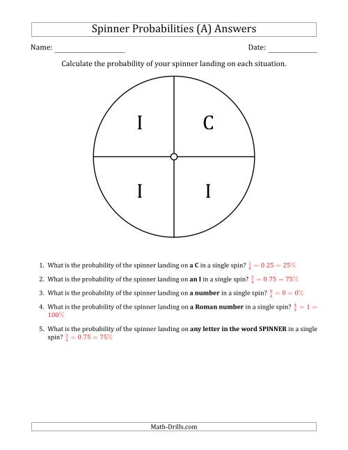 The Non-Numerical Spinners with Letters (4 Sections) (A) Math Worksheet Page 2