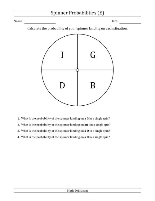 The Non-Numerical Spinners with Letters (4 Sections) (E) Math Worksheet