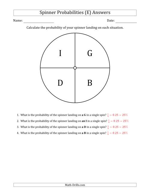 The Non-Numerical Spinners with Letters (4 Sections) (E) Math Worksheet Page 2