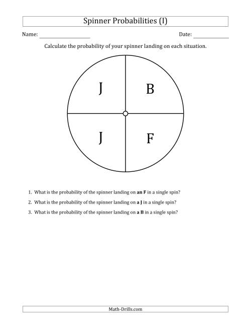 The Non-Numerical Spinners with Letters (4 Sections) (I) Math Worksheet