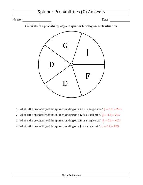 The Non-Numerical Spinners with Letters (5 Sections) (C) Math Worksheet Page 2