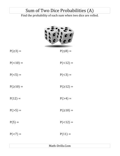 The Sum of Two Dice Probabilities (A) Statistics Worksheet