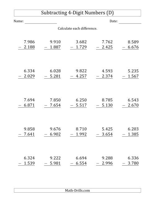 The 4-Digit Minus 4-Digit Subtraction with Period-Separated Thousands (D) Math Worksheet
