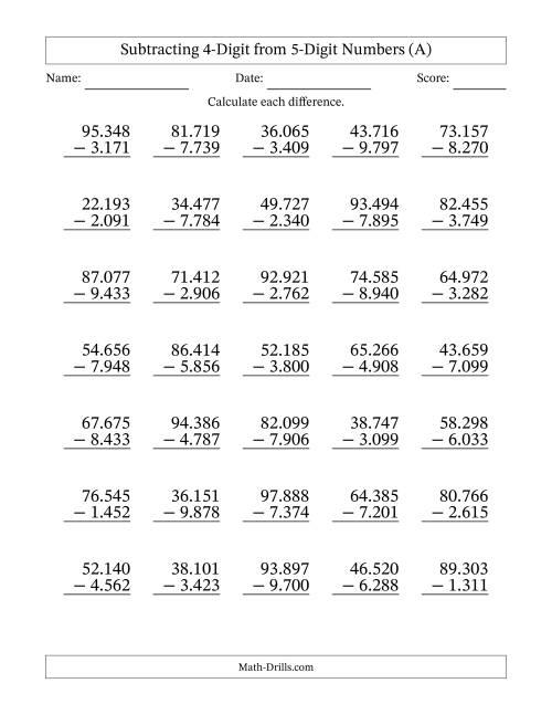 math worksheet : 5 digit minus 4 digit subtraction european format  a  : Long Subtraction Worksheets