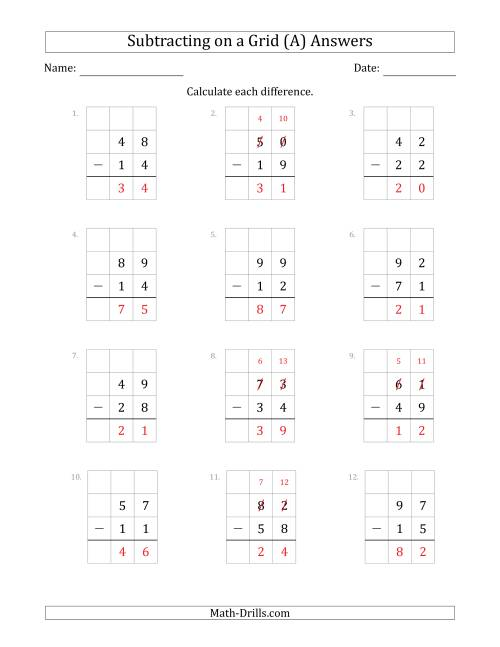 The Subtracting 2-Digit Numbers from 2-Digit Numbers With Grid Support (A) Math Worksheet Page 2