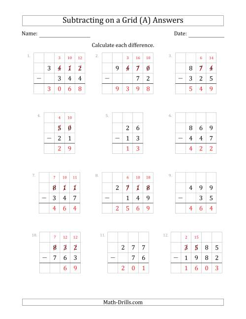 The Subtracting 2- to 4-Digit Numbers from 2- to 4-Digit Numbers With Grid Support (A) Math Worksheet Page 2