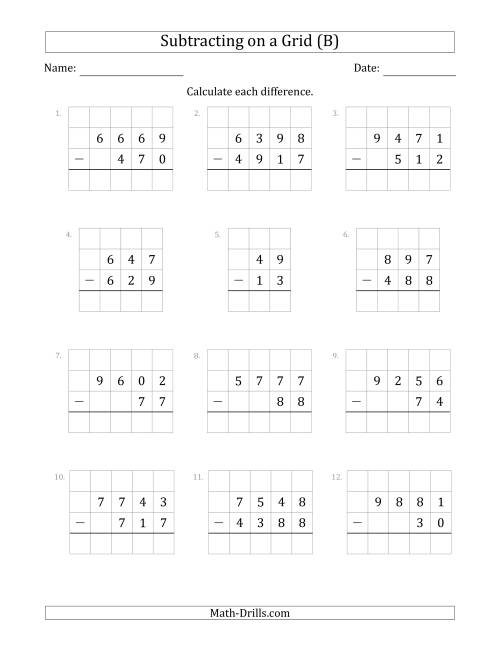 The Subtracting 2- to 4-Digit Numbers from 2- to 4-Digit Numbers With Grid Support (B) Math Worksheet