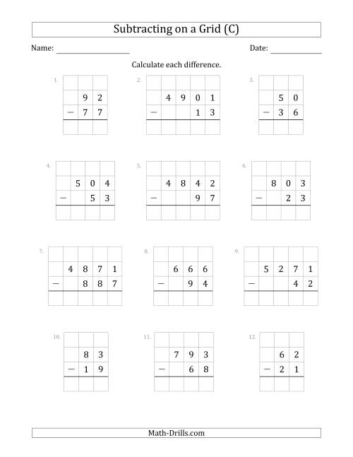 The Subtracting 2- to 4-Digit Numbers from 2- to 4-Digit Numbers With Grid Support (C) Math Worksheet