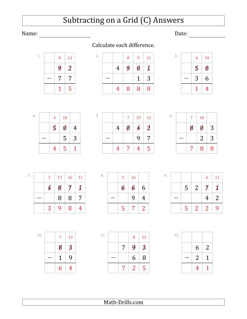 The Subtracting 2- to 4-Digit Numbers from 2- to 4-Digit Numbers With Grid Support (C) Math Worksheet Page 2
