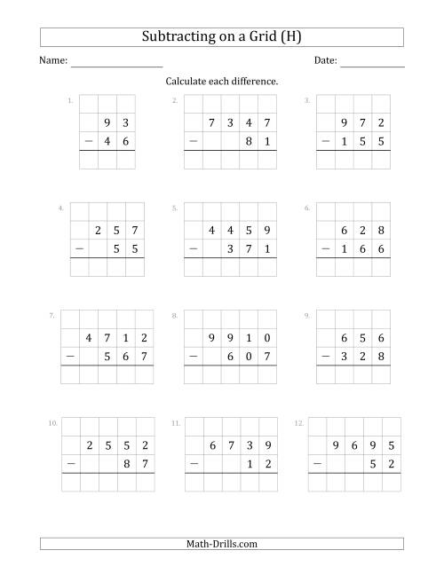 The Subtracting 2- to 4-Digit Numbers from 2- to 4-Digit Numbers With Grid Support (H) Math Worksheet