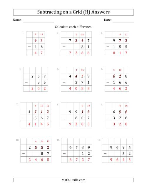 The Subtracting 2- to 4-Digit Numbers from 2- to 4-Digit Numbers With Grid Support (H) Math Worksheet Page 2