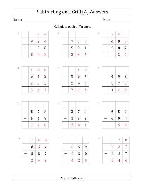 The Subtracting 3-Digit Numbers from 3-Digit Numbers With Grid Support (A) Math Worksheet Page 2