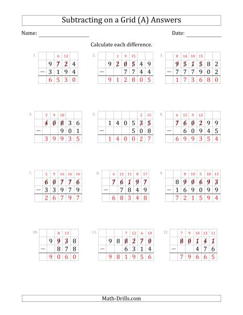 The Subtracting 3- to 6-Digit Numbers from 3- to 6-Digit Numbers With Grid Support (A) Math Worksheet Page 2