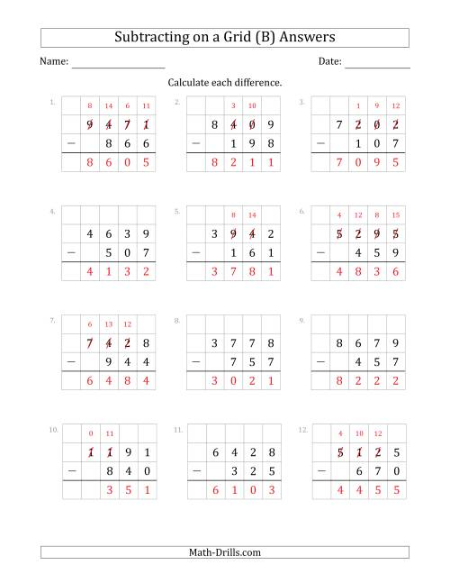 The Subtracting 3-Digit Numbers from 4-Digit Numbers With Grid Support (B) Math Worksheet Page 2