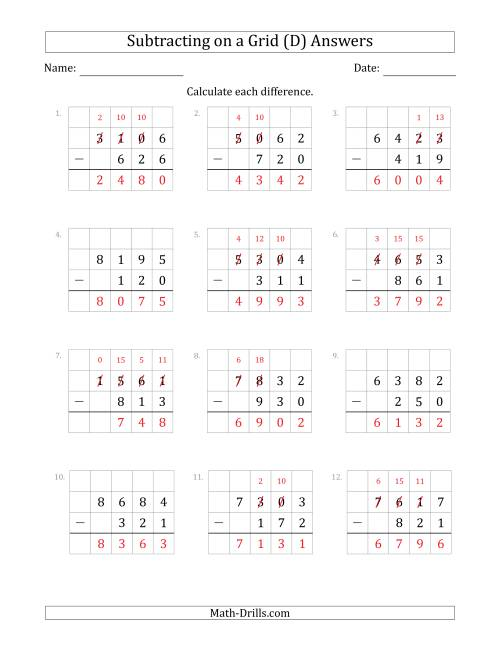 The Subtracting 3-Digit Numbers from 4-Digit Numbers With Grid Support (D) Math Worksheet Page 2