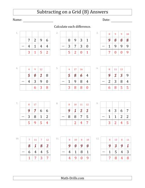 The Subtracting 4-Digit Numbers from 4-Digit Numbers With Grid Support (B) Math Worksheet Page 2