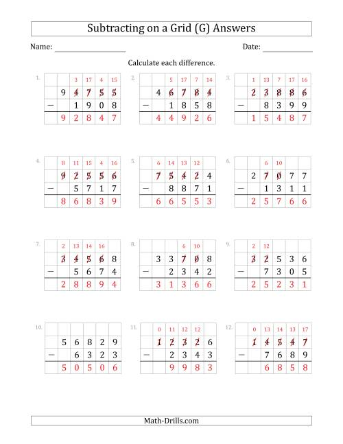 The Subtracting 4-Digit Numbers from 5-Digit Numbers With Grid Support (G) Math Worksheet Page 2