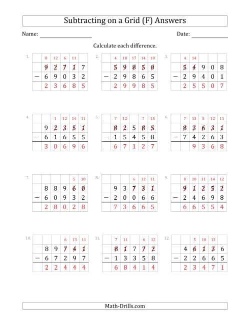 The Subtracting 5-Digit Numbers from 5-Digit Numbers With Grid Support (F) Math Worksheet Page 2