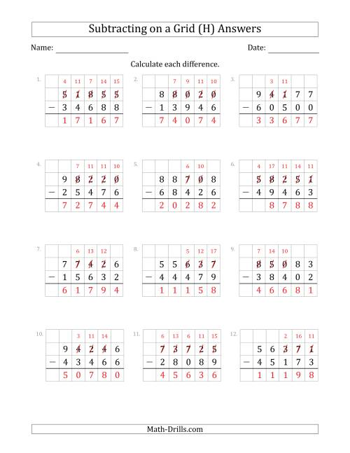 The Subtracting 5-Digit Numbers from 5-Digit Numbers With Grid Support (H) Math Worksheet Page 2