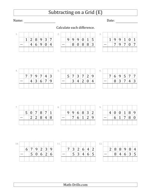 The Subtracting 5-Digit Numbers from 6-Digit Numbers With Grid Support (E) Math Worksheet