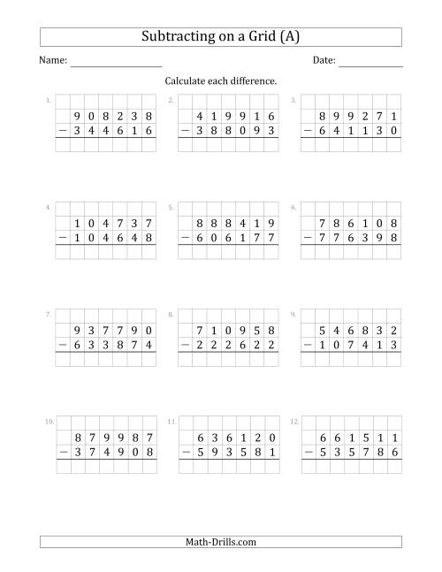 The Subtracting 6-Digit Numbers from 6-Digit Numbers With Grid Support (A) Math Worksheet