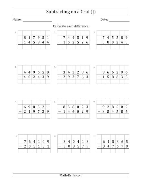 The Subtracting 6-Digit Numbers from 6-Digit Numbers With Grid Support (J) Math Worksheet