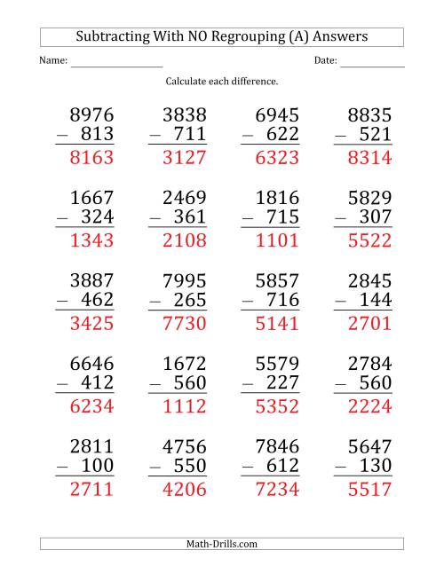 The Large Print 4-Digit Minus 3-Digit Subtraction with NO Regrouping (A) Math Worksheet Page 2