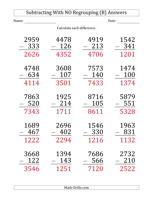 The Large Print 4-Digit Minus 3-Digit Subtraction with NO Regrouping (B) Math Worksheet Page 2