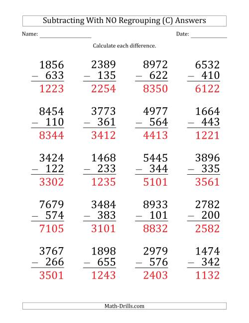The Large Print 4-Digit Minus 3-Digit Subtraction with NO Regrouping (C) Math Worksheet Page 2