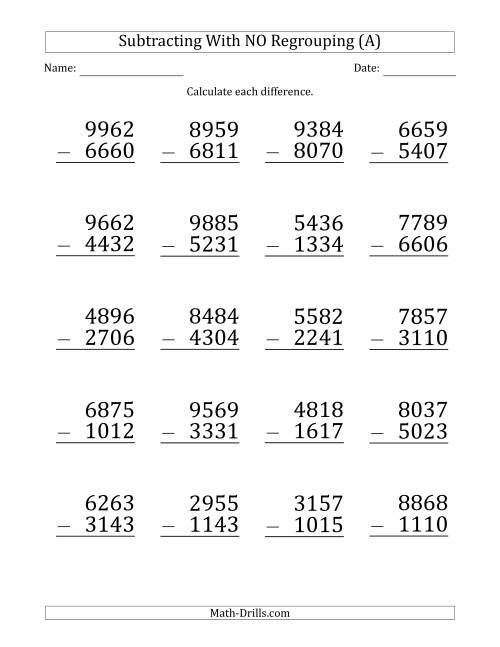 The Large Print 4-Digit Minus 4-Digit Subtraction with NO Regrouping (A) Math Worksheet