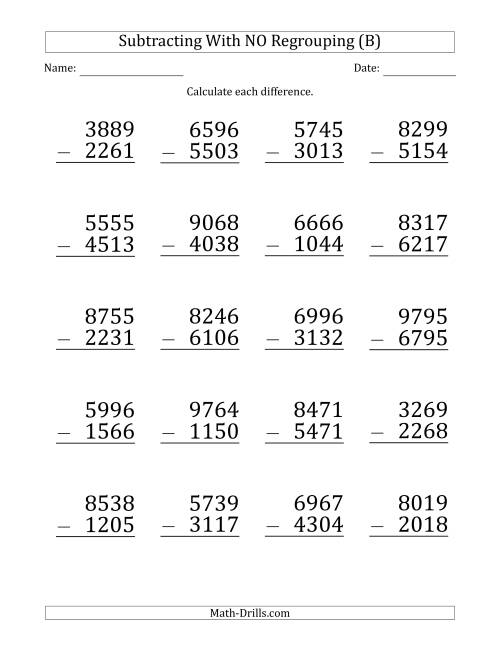 The Large Print 4-Digit Minus 4-Digit Subtraction with NO Regrouping (B) Math Worksheet