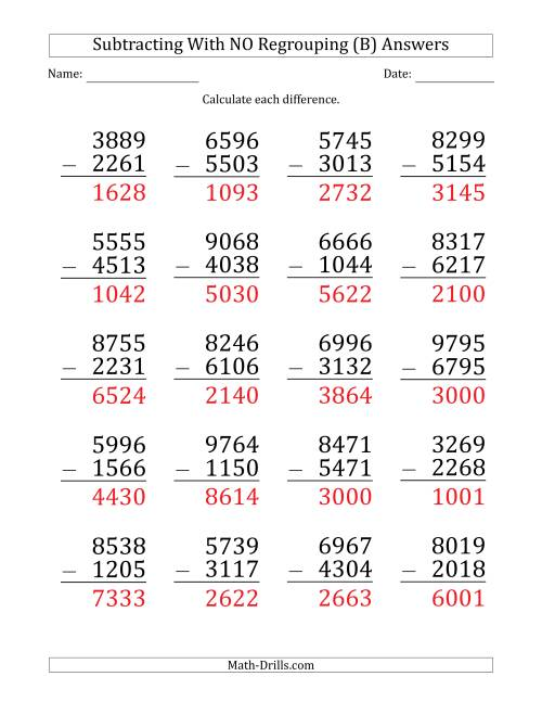 The Large Print 4-Digit Minus 4-Digit Subtraction with NO Regrouping (B) Math Worksheet Page 2
